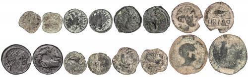 MONEDAS HISPÁNICAS. Lote 8 monedas Semis (6) y As. (2). BALS