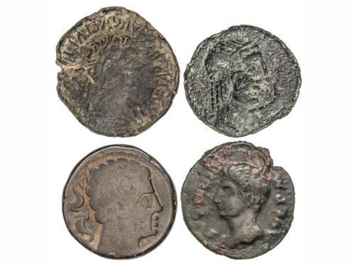 MONEDAS HISPÁNICAS. Lote 4 monedas As. CÁRBULA, CLUNIA, EBOR