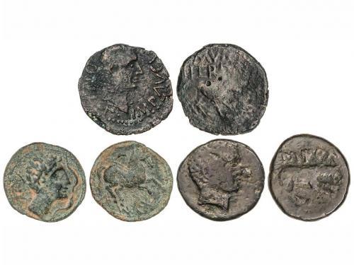 MONEDAS HISPÁNICAS. Lote 3 monedas Semis y As (2). ILTIRTA (