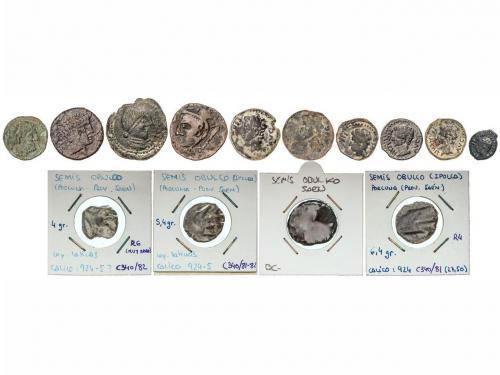 MONEDAS HISPÁNICAS. Lote 14 monedas Cuadrante, Semis (7) y A