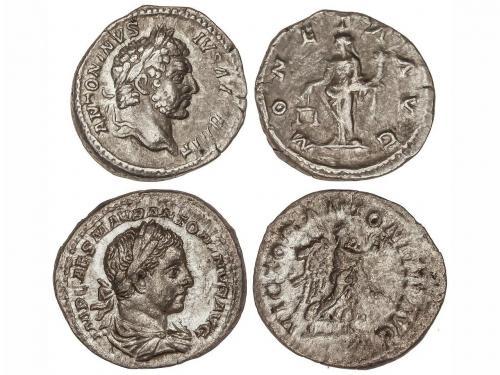 IMPERIO ROMANO. Lote 2 monedas Denario. CARACALLA y HELIOGÁB