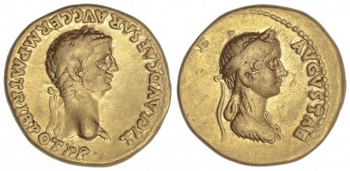IMPERIO ROMANO. Áureo. Acuñada el 50-54 d.C. CLAUDIO y AGRIP