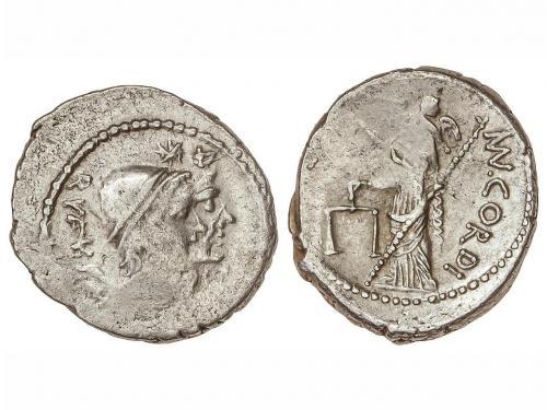 REPÚBLICA ROMANA. Denario. 46 a.C. CORDIA-2b. Manius Cordius