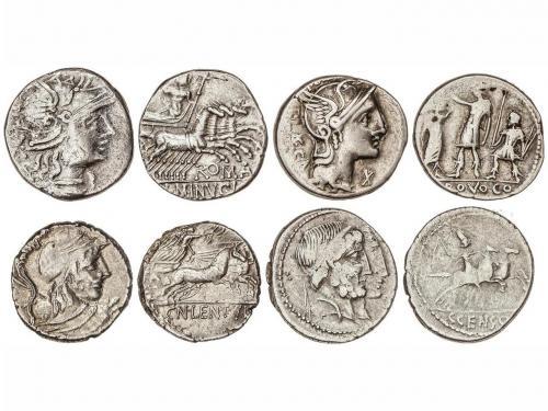 REPÚBLICA ROMANA. Lote 4 monedas Denario. CORNELIA-50, MARCI