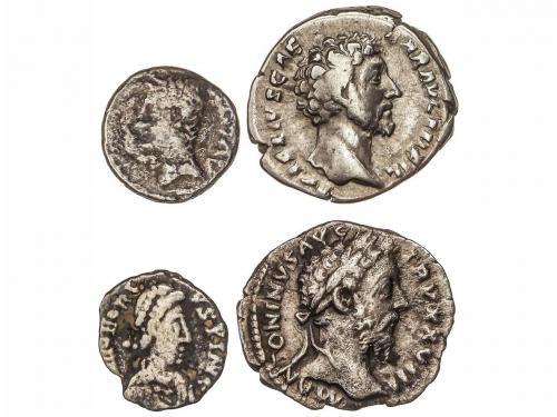 IMPERIO ROMANO. Lote 4 monedas 2 Denarios, 1 Quinario y 1/2