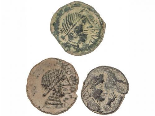 MONEDAS HISPÁNICAS. Lote 3 monedas AS. CASTULO y OBULCO. A E