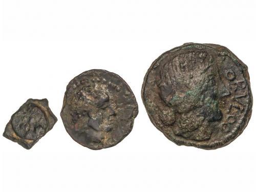 MONEDAS HISPÁNICAS. Lote 3 monedas 1/8 Calco, Semis y As. CA