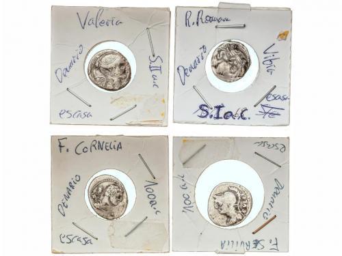 REPÚBLICA ROMANA. Lote 10 monedas Denario. AR. Diferentes Fa