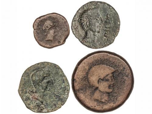 MONEDAS HISPÁNICAS. Lote 4 monedas Cuadrante y As (3). CARMO