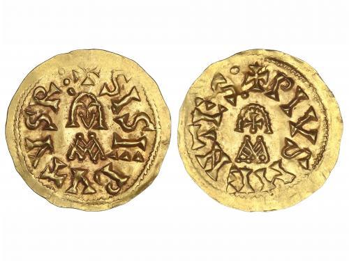 MONEDAS VISIGODAS. Triente. SISEBUTO (612-621 d.C.). MENTESA
