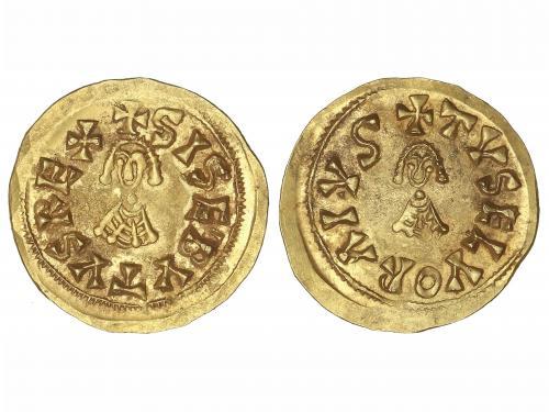 MONEDAS VISIGODAS. Triente. SISEBUTO(612-621 d.C.). ELVORA