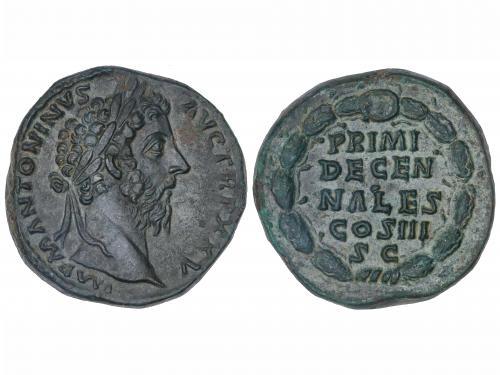 IMPERIO ROMANO. Sestercio. Acuñada el 170-171 d.C. MARCOAUR