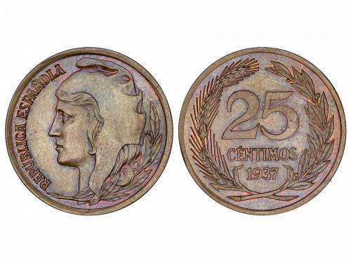 II REPÚBLICA. Prueba de 25 Céntimos. 1937. Cabeza femenina a