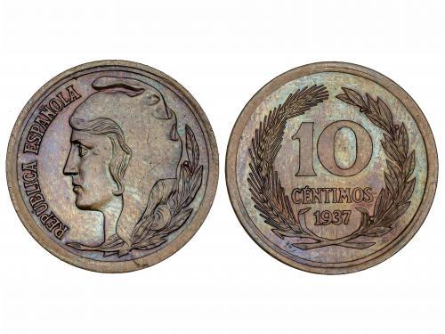 II REPÚBLICA. Prueba de 10 Céntimos. 1937. Cabeza femenina a