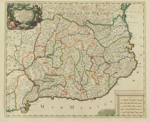 1683 ca. MAPA. (CATALUNYA). VALCK:. PRINCIPAUTE DE CATALOGNE