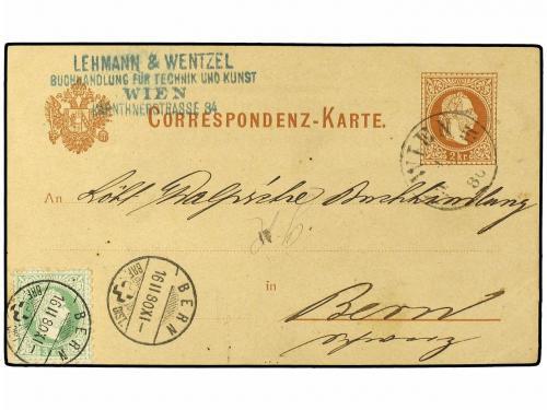 ✉ AUSTRIA. Ed. . 1880. 2 kr. brown on buff stationery card u