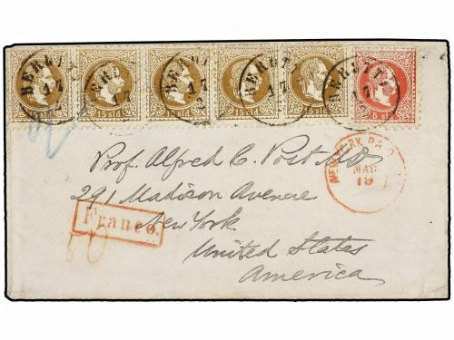 ✉ LEVANTE: CORREO AUSTRIACO. Mi. 3, 5. (1870 ca.). Austrian