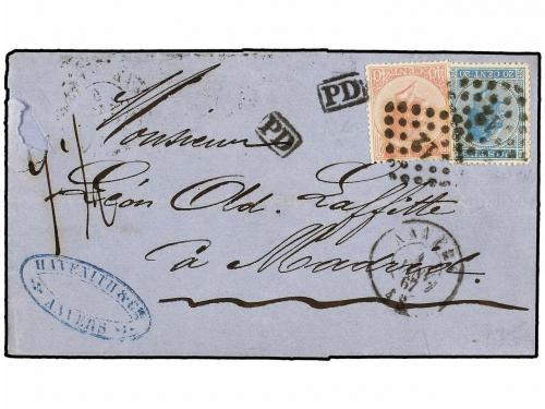 ✉ BELGICA. Yv. 18, 20. 1867. ANVERS a MADRID (España). 20 ct