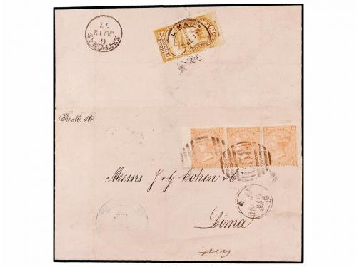 ✉ CUBA. 1876 (June 5). Entire from HAVANA to LIMA franked by