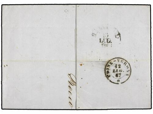 ✉ AUSTRIA. Mi. 31 (2), 33. 1867. TRIEST to GALLIPOLI (Italy)