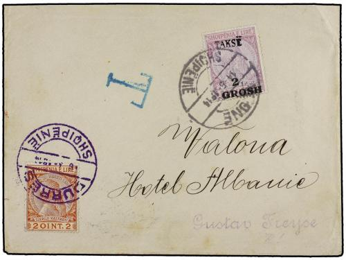 ✉ ALBANIA. Mi. P 9. 1914. DURRES a VALONA. 2 Q., tasada a ll