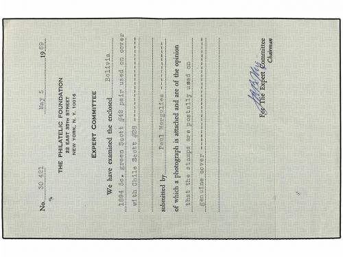 ✉ CHILE. Sc. 28. 1895. SAMAIPATA (Bolivia) a PARÍS. Circulad