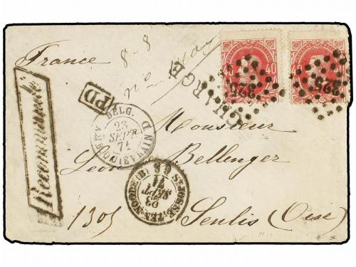 ✉ BELGICA. 1871. BRUXELLES to FRANCE. Envelope franked with