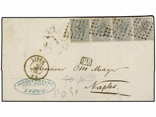 ✉ BELGICA. 1866. LIEGE to NAPOLI (Italy). Folded letter fran