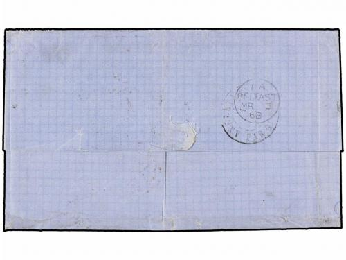 ✉ BELGICA. 1868. ANVERS to BELFAST (North Ireland). Entire l